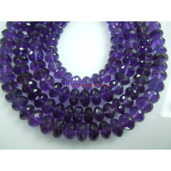 African Amethyst Faceted Roundelle Beads Gemstone