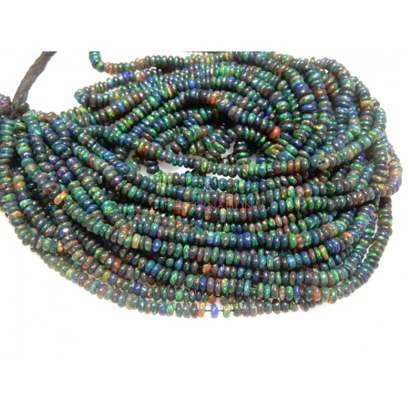 NaturalEthiopian Opal Rondelle Smooth  Beads Gemstone
