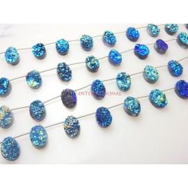 Druzy Quartz Coated Oval Cabochon Gemstone Beads
