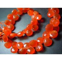Red Carnelian Faceted Briolette Heart Shape Beads Gemstone