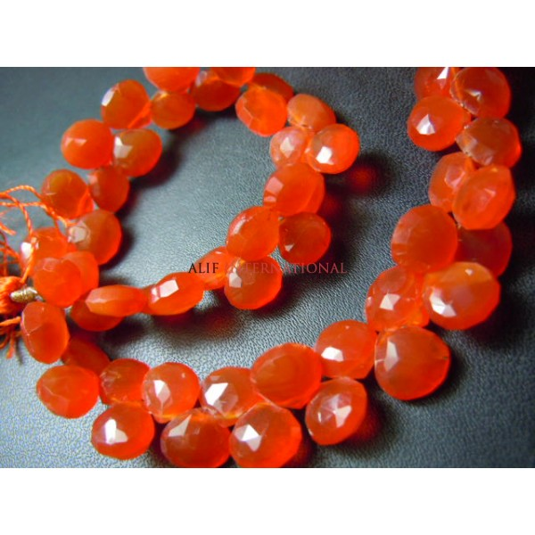 Red Carnelian Faceted Briolette Heart Shape Beads Gemstone