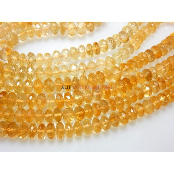 Citrine Quartz Faceted Rondelle Beads Gemstone