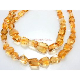 citrine quartz Faceted briolette nuggets tumble Gemstone Beads