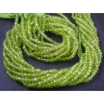 Crystal Quartz Rondelle Faceted  Beads Coated Green Color 14'' AAA Quality Size - 3 -4MM Approx Wholesale Price