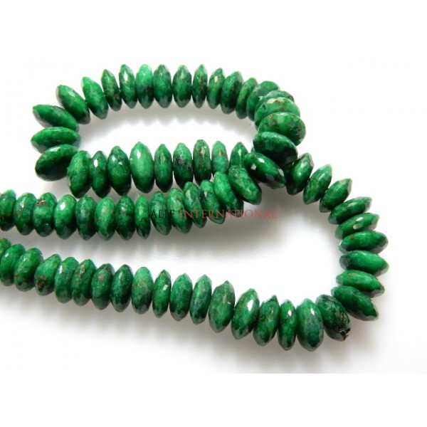 Corundum Emerald German Cut Roundelle Beads Gemstone