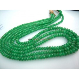 Zambian Emerald Smooth Roundelle Beads Gemstone