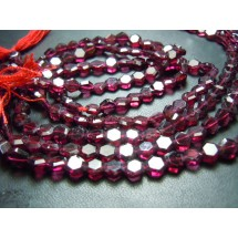 Red Garnet Faceted Hexagon Shape Gemstone Beads