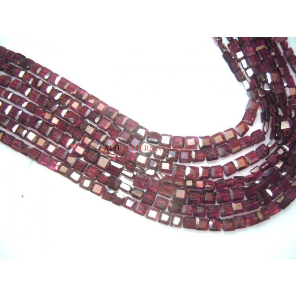 Red Garnet Faceted Square Shape Beads Size- 5MM Approx