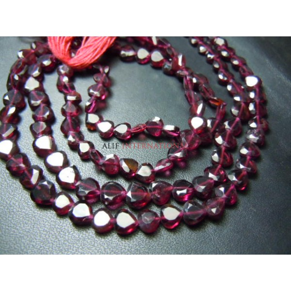Red Garnet Faceted Heart Shape Beads Size- 5MM Approx