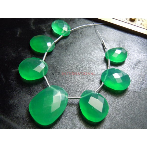Green Onyx Rose Cut Briolette Size - 10x12MM To 12X16MM Approx 7 Beads  Wholesale Price