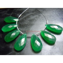 Green Onyx  Faceted Long Briolette Pear Drops 9 Beads Size -10x20MM Approx