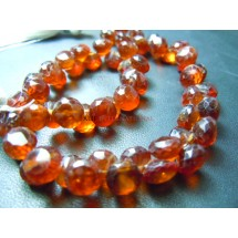 Hessonite Garnet Faceted Briolette Onion Drops Beads Gemstone