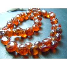 Hessonite Garnet Faceted Briolette Onion Drops Beads Gemstone