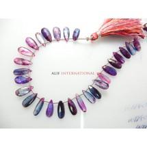 Blue Kyanite Mystic Faceted Briolette Pear Drops Gemstone Beads