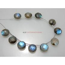 Labradorite Faceted Coin Briolette Gemstone Beads