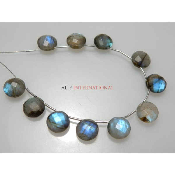 Labradorite Faceted Coin Briolette Gemstone Beads
