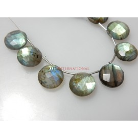 Labradorite Gemstone Faceted Coin Briolette Size - 12x12MM Approx 10 Beads - Beautiful Blue Fire  Wholesale Price