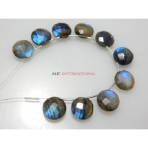 Labradorite Coin Cube Faceted Beads Gemstone