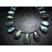 Labradorite Rose Cut Briolette Pear Drops Sold -11 Beads Per Strands