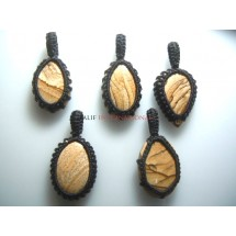 Picture Jasper Macrame Pendent Cabochon Quality Wholesale Price