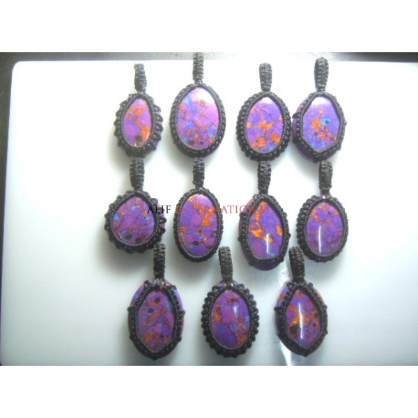 Purple Turquoise Gemstone  Macrame Pendent Wholesale