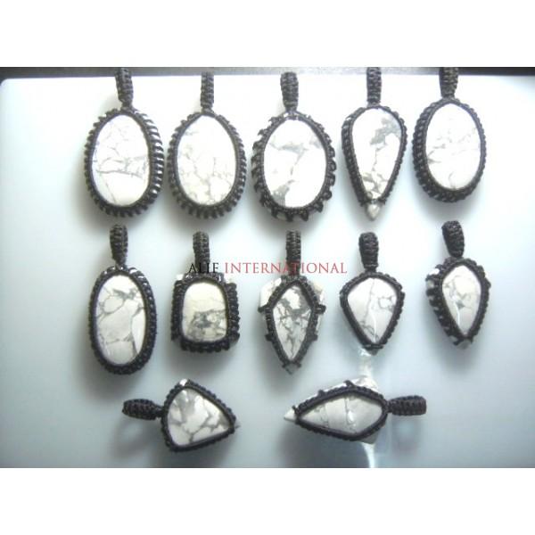 Hawolite Gemstone Cabochon Macrame Pendent  12Pc Wholesale Price