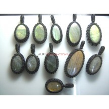 Labradorite Gemstone Cabochon Macrame Pendent 11Pc Semi Precious Gemstone Wholesale Price