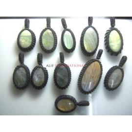 Labradorite Gemstone Cabochon Macrame Pendent 11Pc Semi Precious Gemstone Wholesale Price