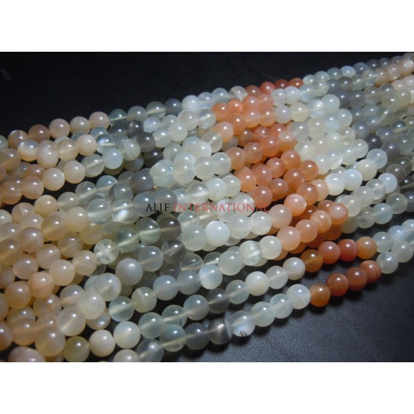 Multi MoonstoneRound Ball Smooth Beads Size - 5MM AAA Quality  Wholesale Price
