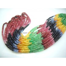 Multi Sapphire Faceted Roundelle Gemstone Beads