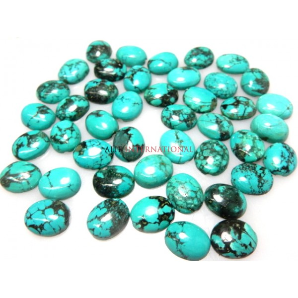 Natural Tibetan Turquoise 10x12mm Oval Cabochon Gemstone