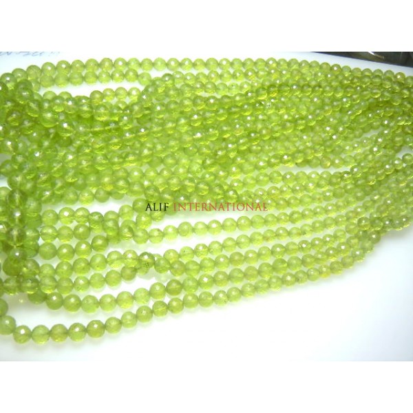 Peridot Rond Ball Faceted Beads 14'' AAA Quality Size 4 - 5MM Approx Wholesale Price