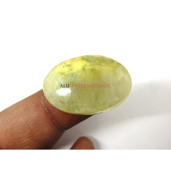 Yellow-Prehnite Cabochon Gemstone 19x29MM Oval