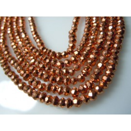 Copper Pyrite Coated Faceted Rondelle Beads Gemstone