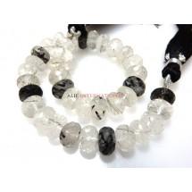 Black Rutilated-Quartz Beads Faceted Rondelle