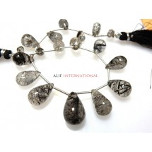 Natural Black Rutilated-Quartz Beads Briolette Smooth Tear Drops