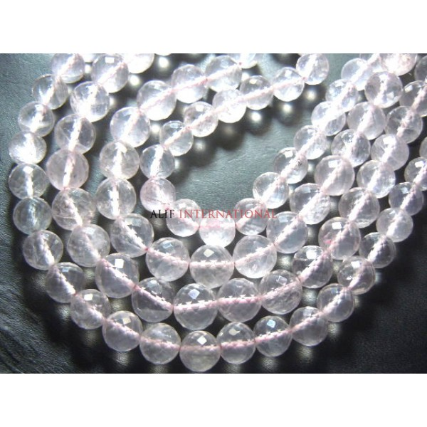 Brazilian Rose Quartz -6.5- 9MM Faceted Round Beads 1 Full Strand - 54 Beads