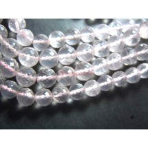 Brazilian Rose Quartz -6.5- 9MM Faceted Round Beads 1 Full Strand - 54 Beads