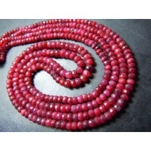 Corundum Ruby Faceted Roundelle Beads Gemstone