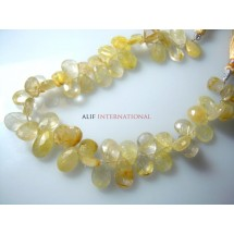Golden Rutilated Quartz Faceted Briolette Pear Drops Gemstone Beads