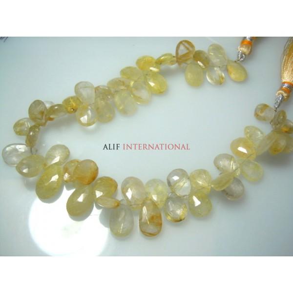 Golden Rutilated Quartz Faceted Briolette Pear Drops Gemstone Beads