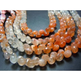 Strawberry Quartz Faceted Onion Drops Briolette Beads Gemstone
