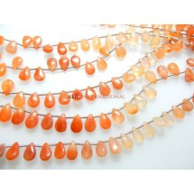 Tangerine Quartz Smooth Briolette Pear Drops Gemstone Beads