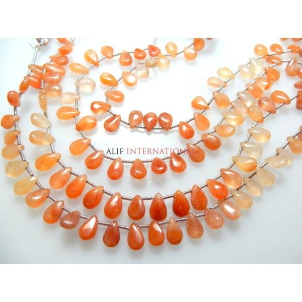 Tangerine Quartz Smooth Briolette Pear Drops Gemstone Beads