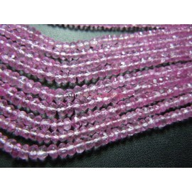 Pink Topaz Rondelle Faceted Coated Beads Size 4MM14'' AAA High Quality  Wholesale Price