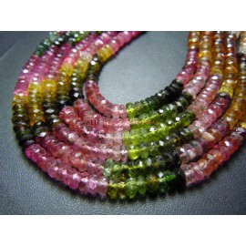 Tourmaline Faceted Rondelle Faceted Gemstone Beads