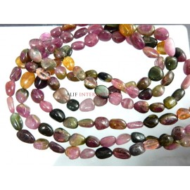 Tourmaline Nuggets Smooth Beads Multi Color Gemstone
