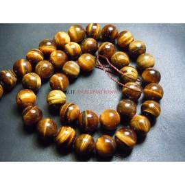 Yellow Tiger Eye Gemstone Round Ball Beads