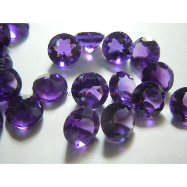African Amethyst Gemstone Cut Stone Size - 10x10MM Round Sold-20Pc Per Lot