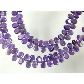Amethyst Briolette Smooth Pear Drops Gemstone Beads